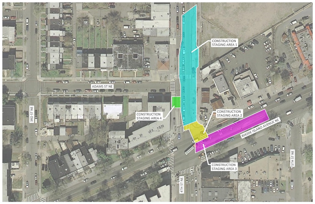 4th Street Construction Staging Area Map