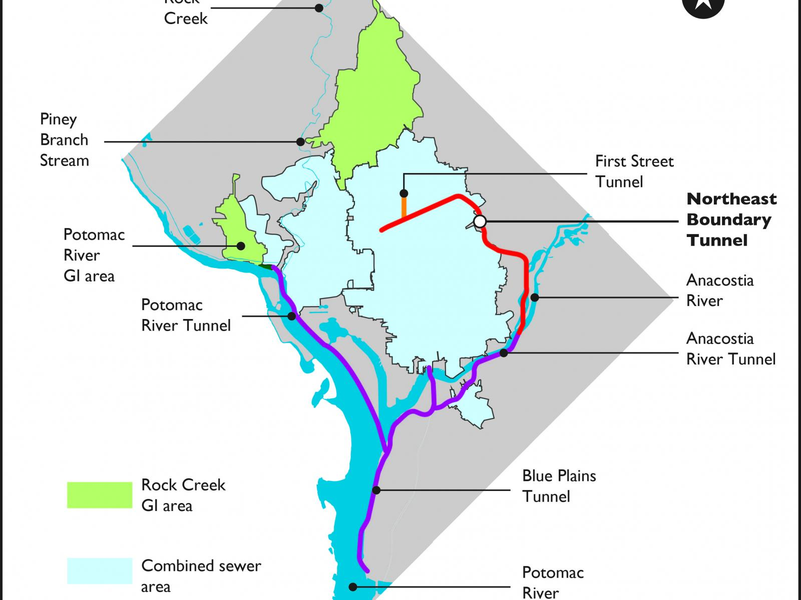 Map of DC Clean Rivers projects