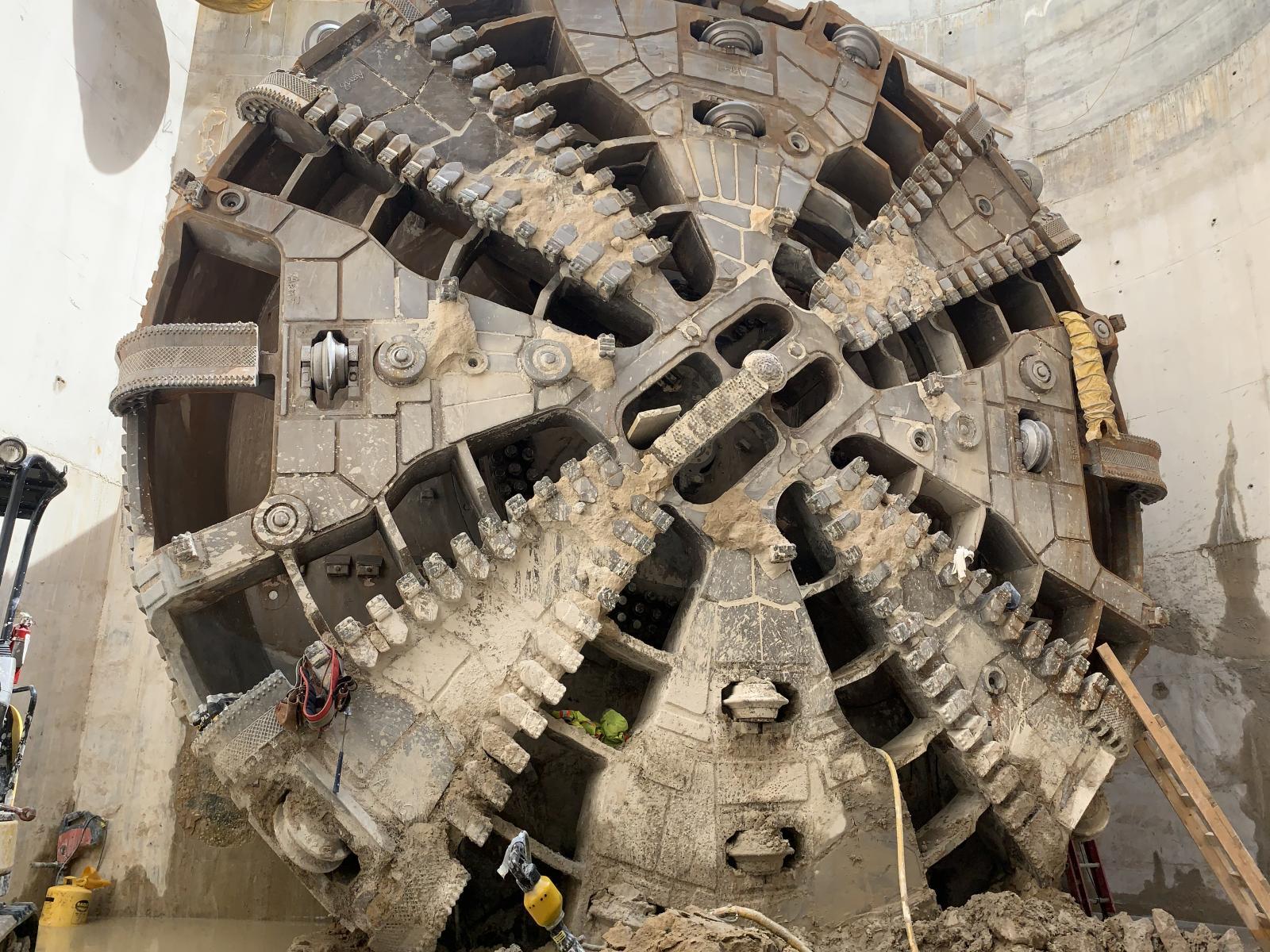 Image of the tunnel boring machine cutterhead.