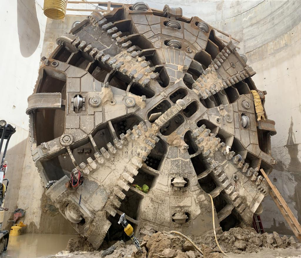 Image of the tunnel boring machine cutterhead.